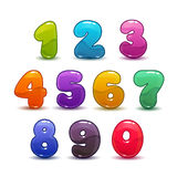 Funny colorful numbers set on white background. Vector illustration Stock Photography