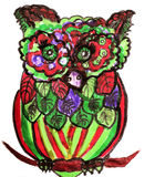 Funny colorful owl with on white background. Hand drawn Stock Photos