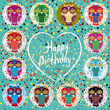 Funny colorful owls on a turquoise background. Heart. Happy birt Stock Images