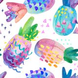Funny colorful pineapples with watercolor texture and drawing elements. Funny colorful decorative pineapples with watercolor texture and drawing geometric stock illustration