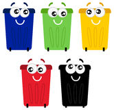 Funny colorful recycle bin mascots Stock Photos