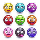 Funny colorful round faces set Stock Photography