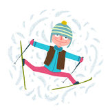 Funny Colorful Skier Exercising in Winter Clothes Royalty Free Stock Photography