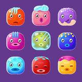 Funny Colorful Square Faces Set, Emotional Cartoon Stock Image
