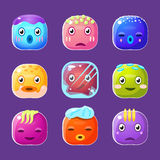 Funny Colorful Square Faces Set, Emotional Cartoon Stock Photo