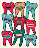 Funny colorful teeth cartoon characters. Vector illustration. Royalty Free Stock Photo