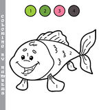 Funny coloring by numbers game. Vector illustration coloring by numbers game of cartoon fish for kids Stock Photos