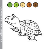Funny coloring by numbers game. Vector illustration coloring by numbers game with cartoon turtle for kids Stock Images