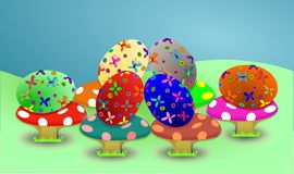 Funny colourful easter eggs Stock Photography