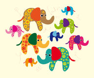 Funny colourful elephants. Vector graphic card with nice cute decorated elephants in indian style Stock Photo