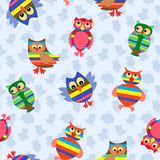 Funny colourful owl seamless pattern Stock Photography
