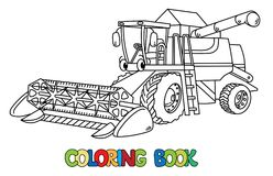 Funny combine harvester with eyes. Coloring book. Combine harvester coloring book for kids. Small funny vector cute car with eyes and mouth. Children vector Royalty Free Stock Images