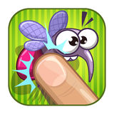 Funny comic app icon with squashed mosquito. Stock Photography