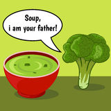 Funny comic with broccoli and vegetable soup Stock Photography
