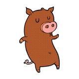 Funny comic cartoon pig Stock Images