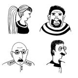 Funny comic portraits of people  illustration Royalty Free Stock Photo