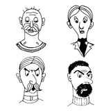 Funny comic portraits of people  illustration. Funny comic portraits of different people sketch doodle  illustration Stock Photography
