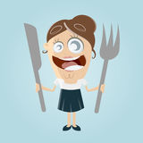 Funny comic woman with cutlery Stock Photo