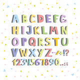 Funny comics font. Hand drawn lowcase colorful cartoon English alphabet letters. Vector illustration Royalty Free Stock Photo