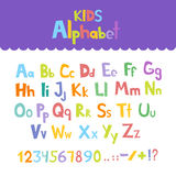 Funny comics font. Hand drawn lowcase and uppercase colorful cartoon English alphabet with lower and uppercase letters. Vector ill Royalty Free Stock Image