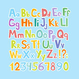 Funny comics font. Hand drawn lowcase and uppercase colorful cartoon English alphabet with lower and uppercase letters. Vector ill Royalty Free Stock Photo