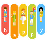 Funny company of children celebrating birthday. Royalty Free Stock Image