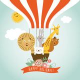 Funny company in hot air ballon, greeting card Stock Images