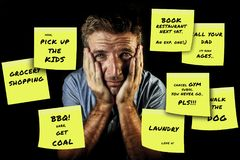 Funny composite of man reading yellow post it notes left by his wife with domestic chores and duties in couple lifestyle royalty free stock image