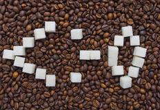 Funny composition of sugar in the form of a emoticon Royalty Free Stock Image