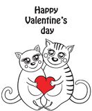 Funny composition with two cats in love Stock Images