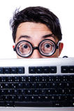 Funny computer geek Royalty Free Stock Image