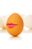 Funny concept - Brown egg with lips. Funny concept - Brown egg on white with lips stock images