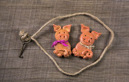 Funny concept for partnership; pig couple of salt paste for a gr Royalty Free Stock Images