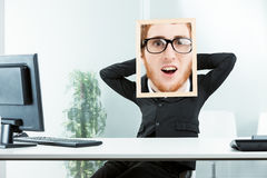 Funny concept of a shocked office worker Royalty Free Stock Images