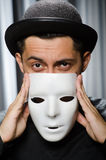 Funny concept with theatrical. Mask Royalty Free Stock Photography