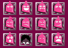 Funny condom characters Stock Image