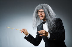 Funny conductor with long Stock Images