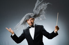 Funny conductor with long Stock Image
