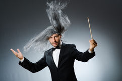 Funny conductor with long Royalty Free Stock Image