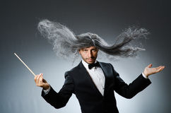 Funny conductor with long Stock Photos