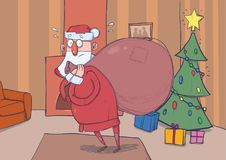 Funny confused Santa Claus with big bag of gifts in room with decoreted Christmas tree and a fireplace. Santa looks lost. Funny confused Santa Claus with big bag Stock Images