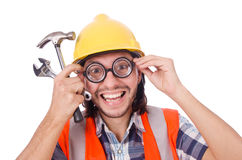 Funny construction worker with hammer and wrench Royalty Free Stock Photography