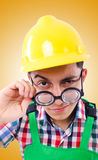 Funny construction worker isolated on white Royalty Free Stock Image
