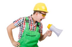 Funny construction worker with loudspeaker Royalty Free Stock Photography