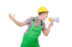 Funny construction worker with loudspeaker Royalty Free Stock Photo