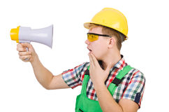 Funny construction worker with loudspeaker Stock Photo