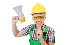 Funny construction worker with loudspeaker Royalty Free Stock Images