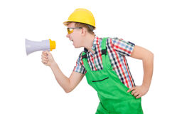 Funny construction worker with loudspeaker Stock Photography