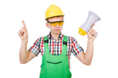 Funny construction worker with loudspeaker Royalty Free Stock Image