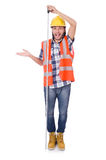 Funny construction worker with tape-line isolated Royalty Free Stock Photography